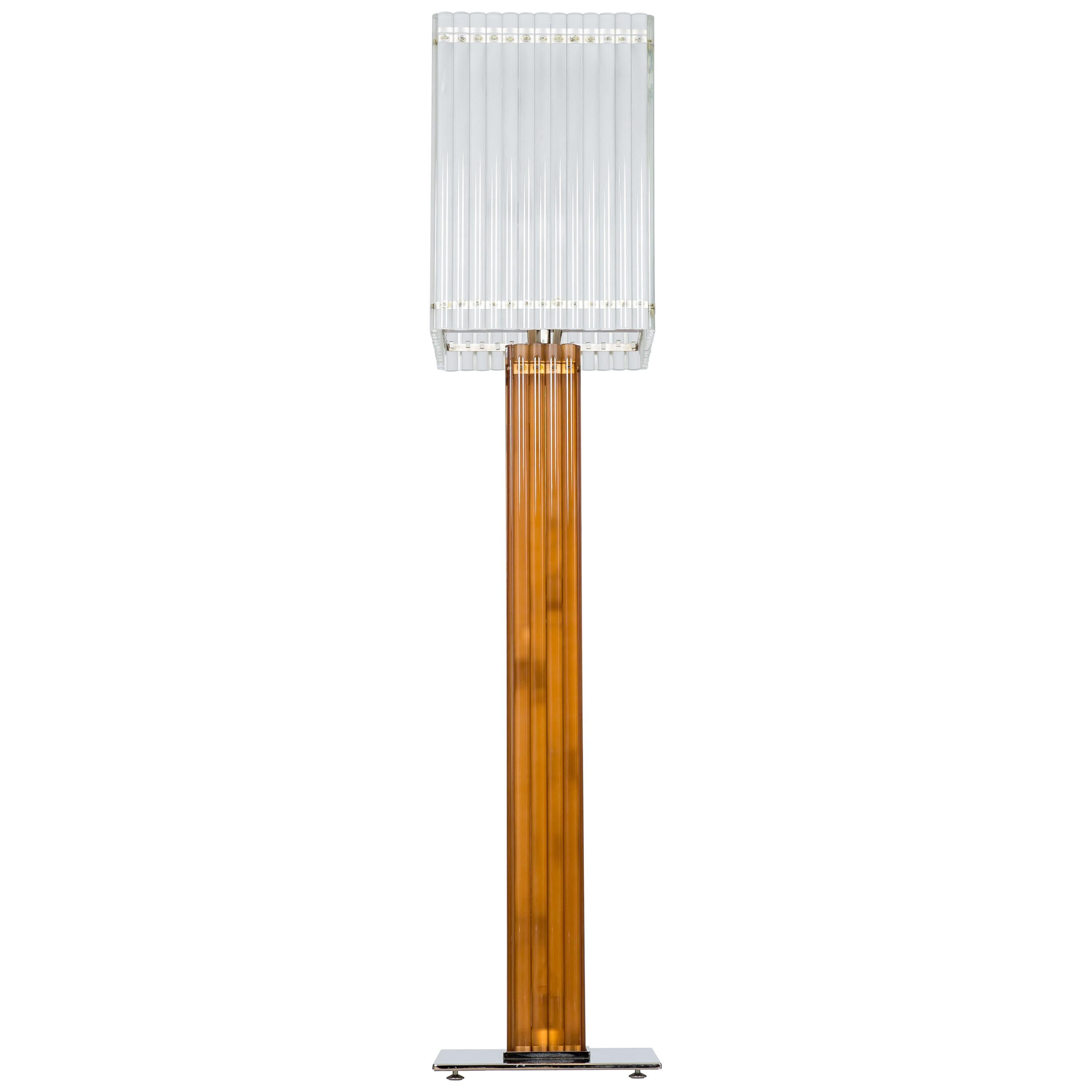 Murano Glass Deco Floor Lamp with Sandblast and Amber Color, Italy
