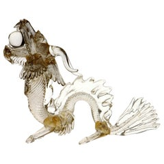 Murano Glass Detailed Dragon in Clear and Gold Leaf, 1990s