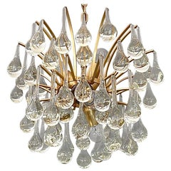 Murano Glass Drop Chandelier Sputnik Gilt Brass Palme 1960s Venini Style