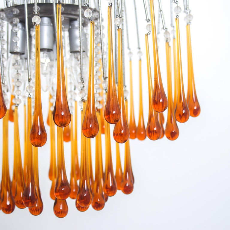Mid-20th Century Italian Mid Century Brown Murano Glass Drops Chandelier by Paolo Venini, 1960s For Sale