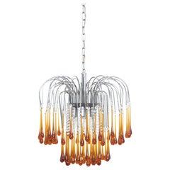Italian Mid Century Brown Murano Glass Drops Chandelier by Paolo Venini, 1960s