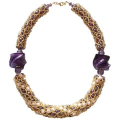 Murano glass faceted beads, hand made by artist Paola B. fashion necklace