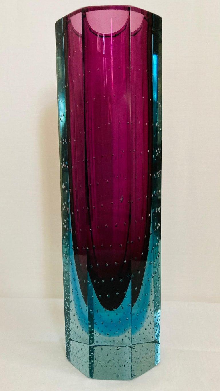 Murano Glass Faceted Hexagonal Sommerso Vase xxlarge For Sale 3