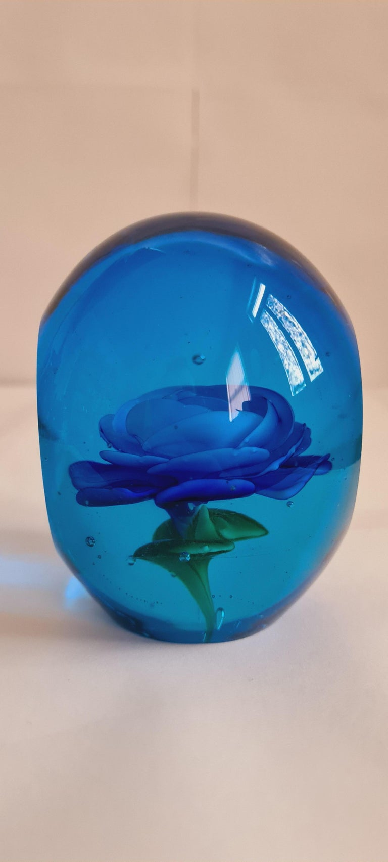 Italian Murano Glass Faceted Paperweight, Archimede Seguso For Sale