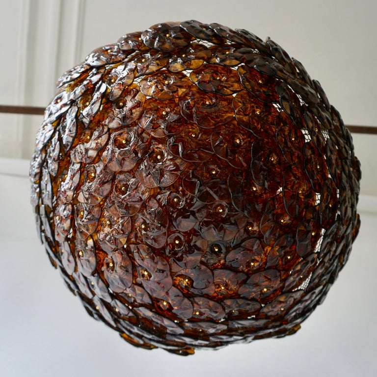 Mid-Century Modern Murano Glass Flower Basket Flush Mount Wall Lamp by Barovier & Toso, 1960s For Sale