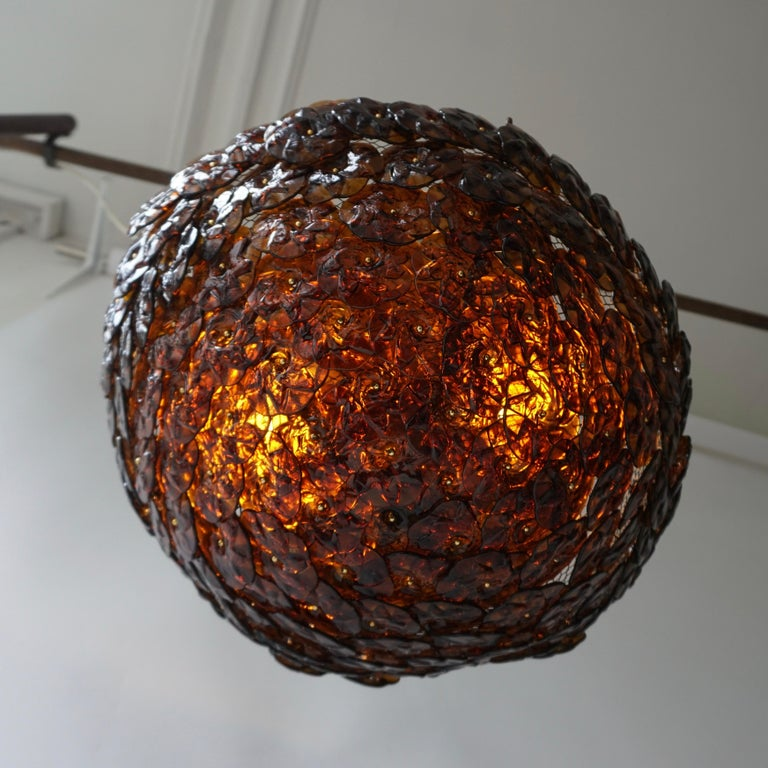 Italian Murano Glass Flower Basket Flush Mount Wall Lamp by Barovier & Toso, 1960s For Sale