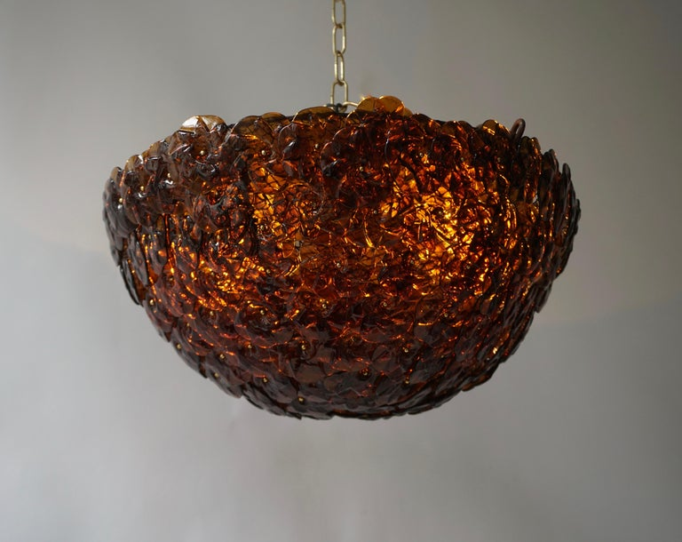 20th Century Murano Glass Flower Basket Flush Mount Wall Lamp by Barovier & Toso, 1960s For Sale
