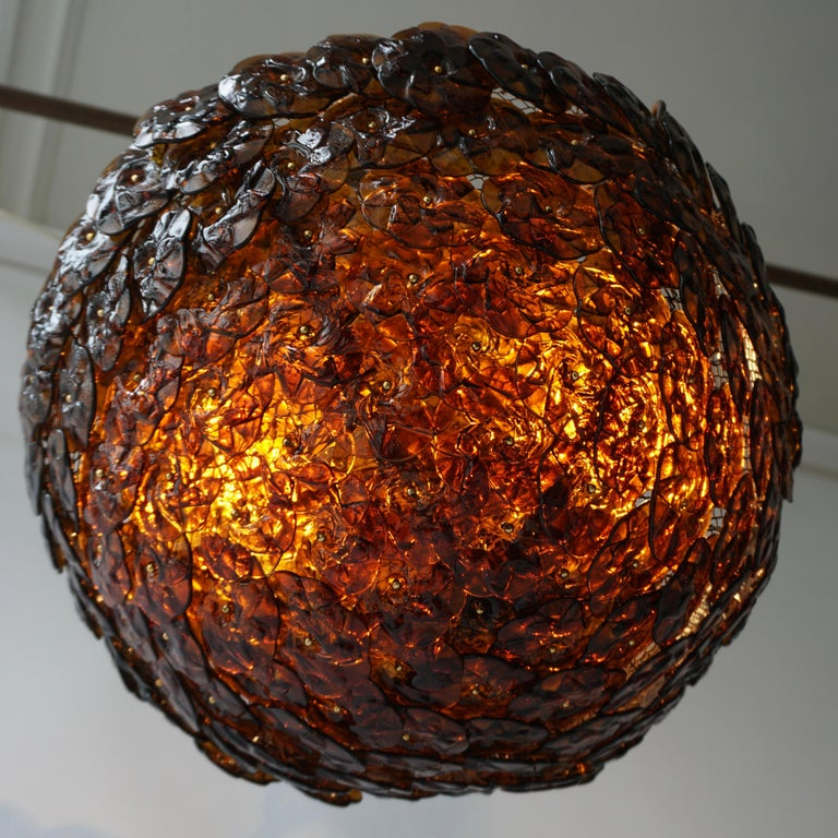 Brass Murano Glass Flower Basket Flush Mount Wall Lamp by Barovier & Toso, 1960s For Sale