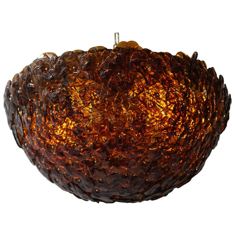 Murano Glass Flower Basket Flush Mount Wall Lamp by Barovier & Toso, 1960s For Sale
