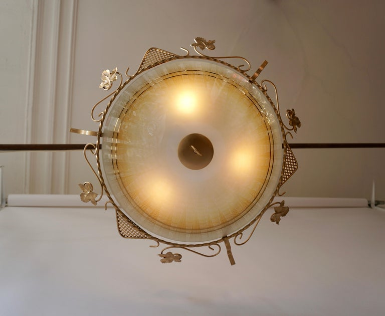 Mid-Century Modern Murano Glass Flush Mount or Wall Lamp, Italy, 1950s For Sale