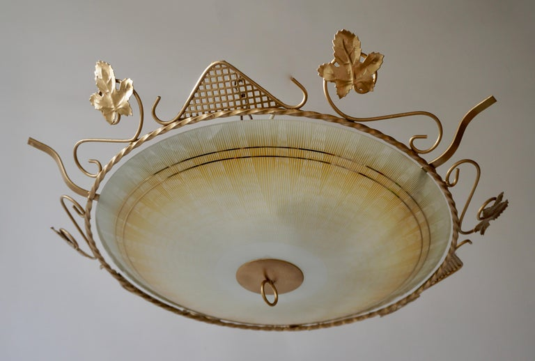 European Murano Glass Flush Mount or Wall Lamp, Italy, 1950s For Sale