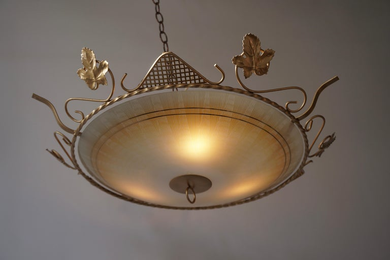 20th Century Murano Glass Flush Mount or Wall Lamp, Italy, 1950s For Sale