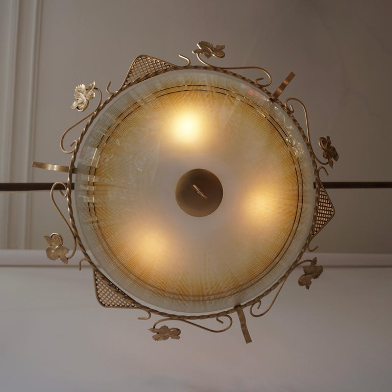 Metal Murano Glass Flush Mount or Wall Lamp, Italy, 1950s For Sale