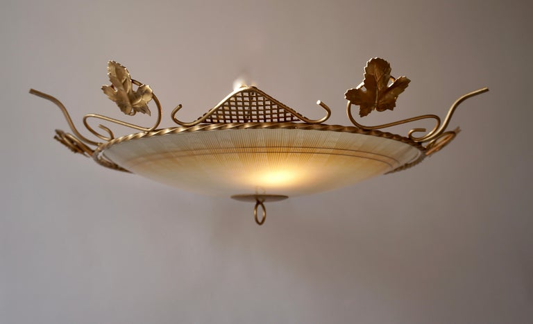 Murano Glass Flush Mount or Wall Lamp, Italy, 1950s For Sale 1