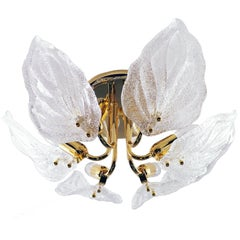 1960 Italy Novaresi 'Leaf' Flush Mount Ceiling Light Murano Glass & Gilt-Brass