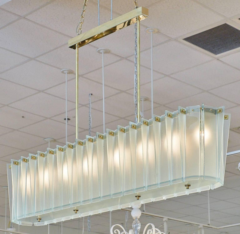 Italian Murano Glass Frosted Modernist Chandelier For Sale