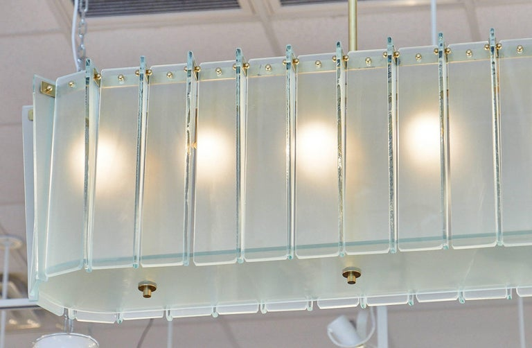 Brass Murano Glass Frosted Modernist Chandelier For Sale