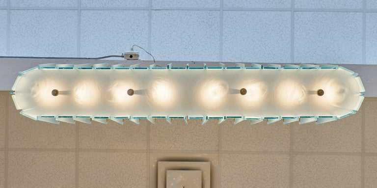 Murano Glass Frosted Modernist Chandelier For Sale 3