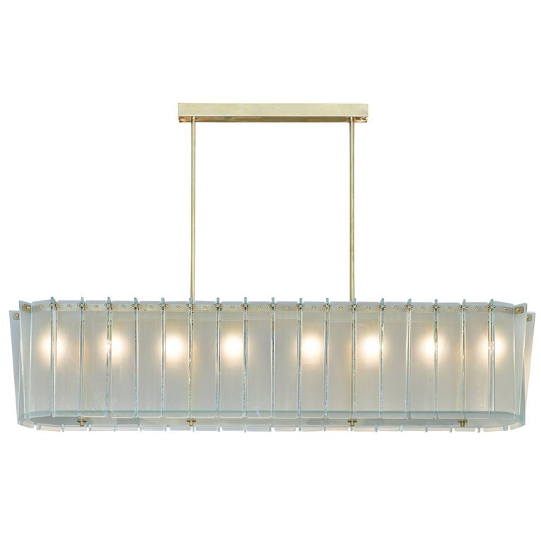 Murano Glass Frosted Modernist Chandelier For Sale