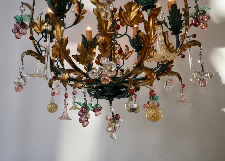 Murano Glass 'Fruit' Chandelier Pendant Light, Glass Gilt Metal, 1950s In Good Condition For Sale In Antwerp, BE