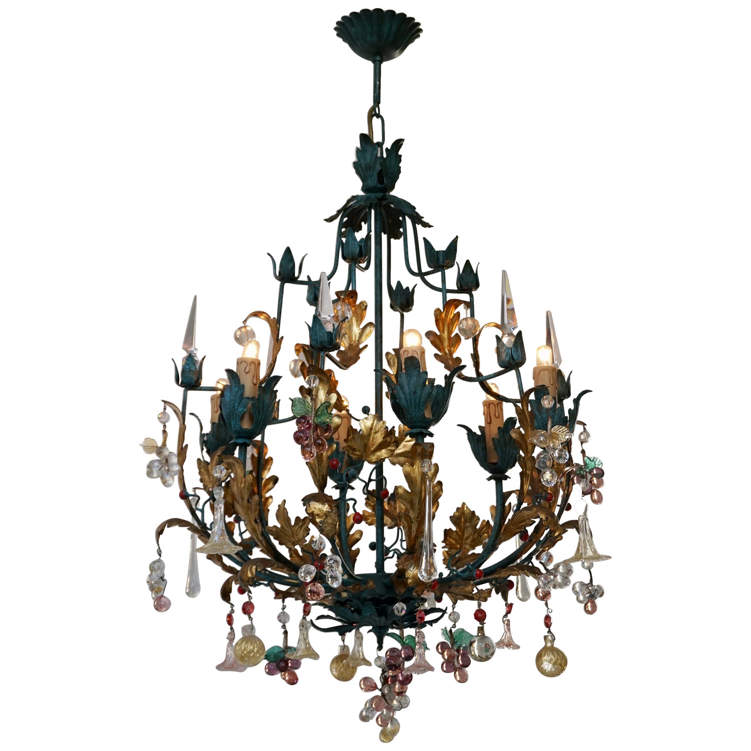 Murano Glass 'Fruit' Chandelier Pendant Light, Glass Gilt Metal, 1950s