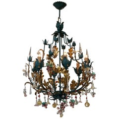 Murano Glass 'Fruit' Chandelier Pendant Light, Glass Gilt Metal, 1950s