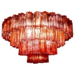 Murano Glass Fuchsia Red Stunning Tronchi Chandelier, 1970