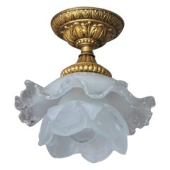 Murano Glass Gilt Bronze Flush Mount, Ceiling Light, Italy, 1950s
