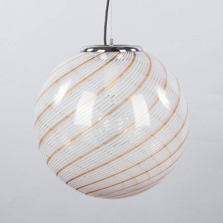 Murano Glass Globe Pendant by Venini, 1970s For Sale 7
