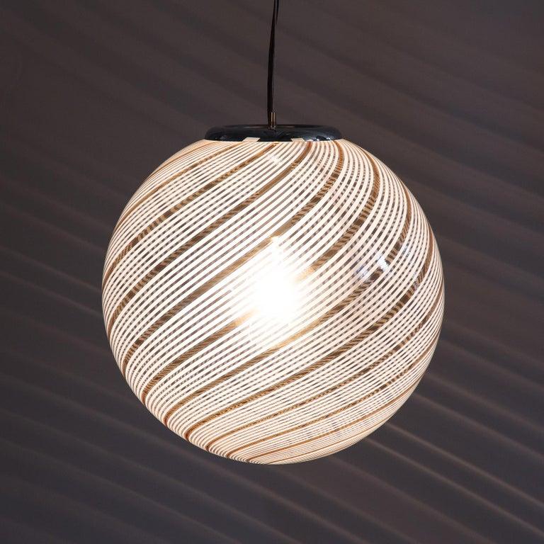 Murano Glass Globe Pendant by Venini, 1970s For Sale 8