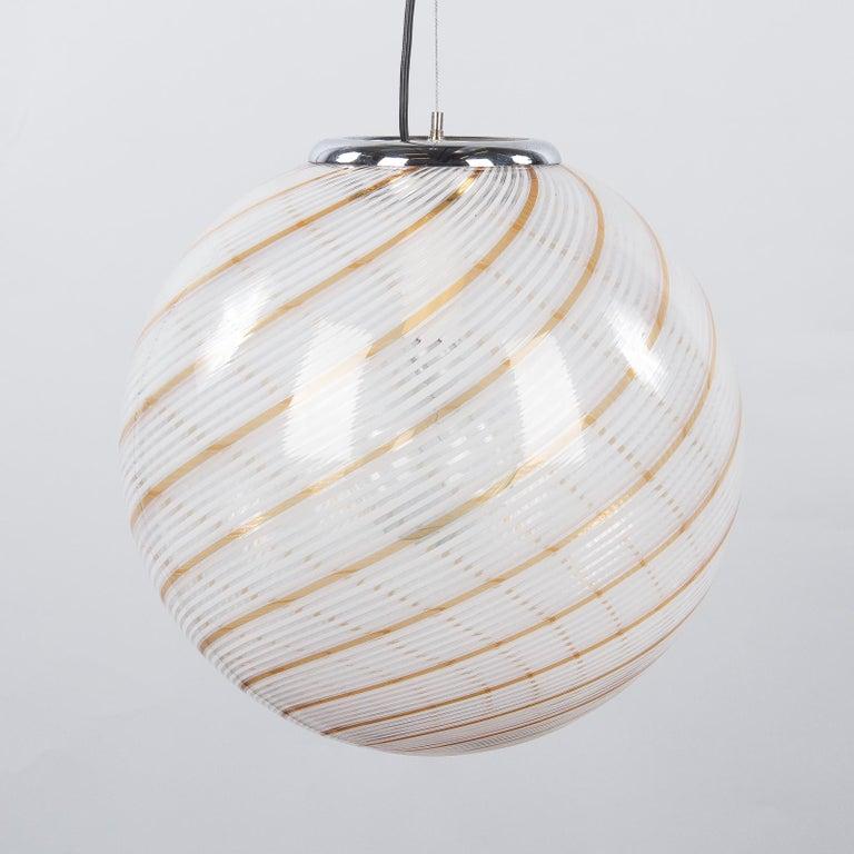 Murano Glass Globe Pendant by Venini, 1970s For Sale 9
