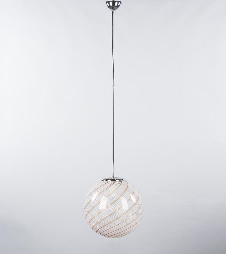 Modern Murano Glass Globe Pendant by Venini, 1970s For Sale