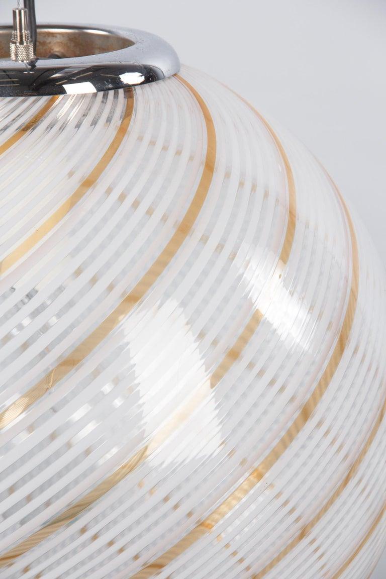 Italian Murano Glass Globe Pendant by Venini, 1970s For Sale