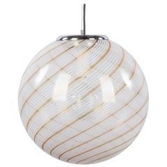 Murano Glass Globe Pendant by Venini, 1970s