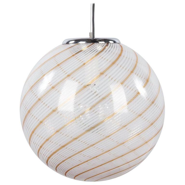 Murano Glass Globe Pendant by Venini, 1970s For Sale