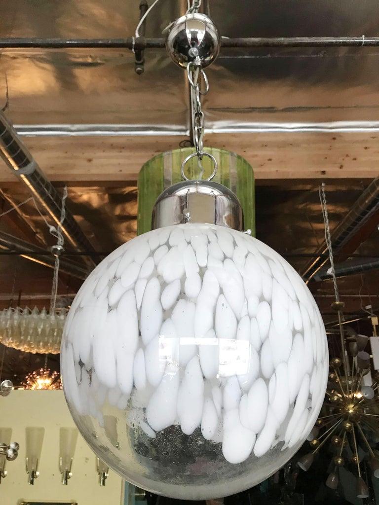Mid-Century Modern Murano Glass Globe Pendant by Venini For Sale