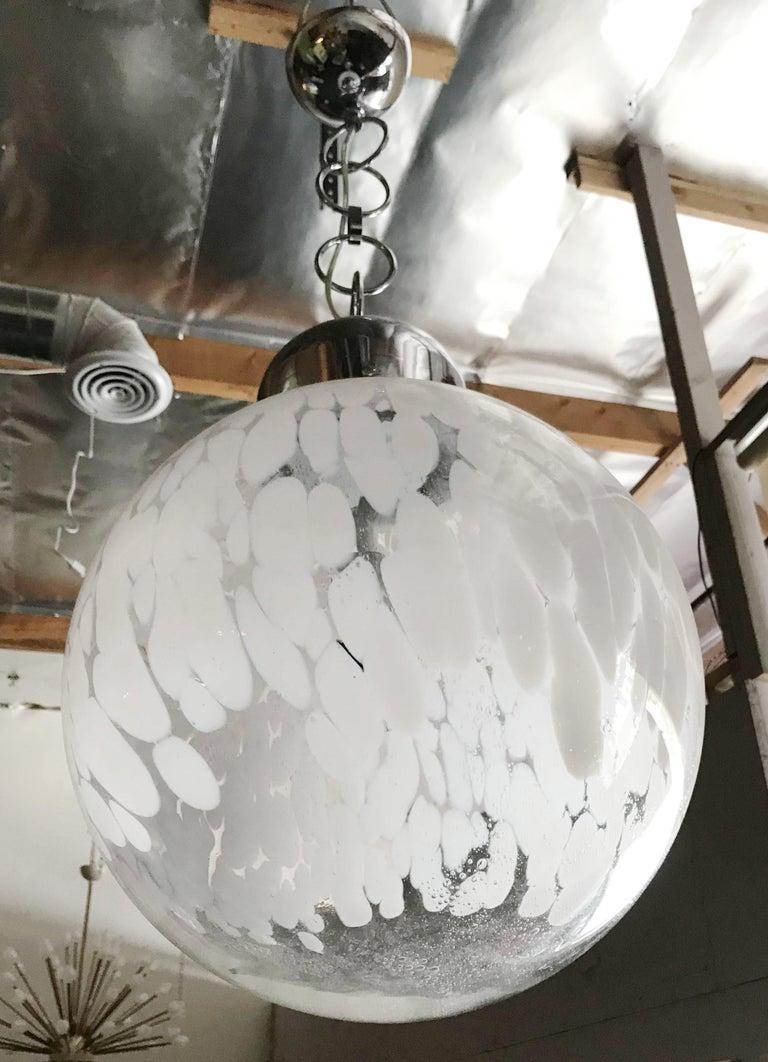 Italian Murano Glass Globe Pendant by Venini For Sale