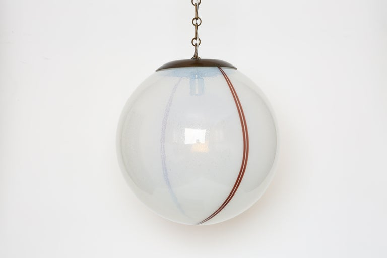 Italian Murano Glass Globe Pendant For Sale