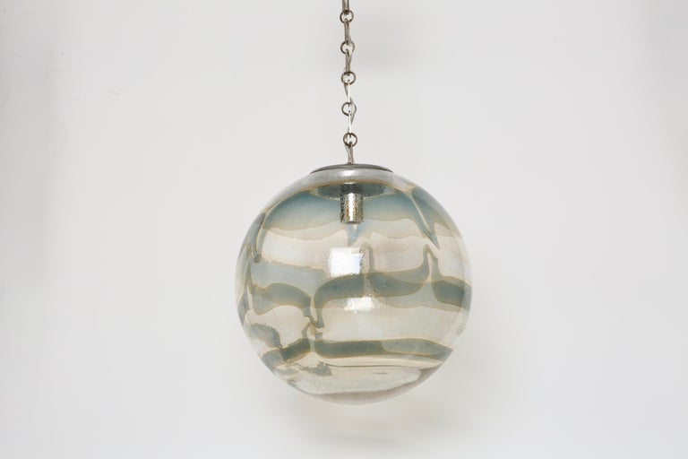 Plated Murano Glass Globe Pendant For Sale