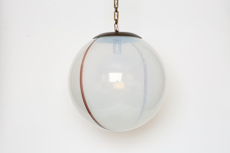 Plated Murano Glass Globe Pendant For Sale