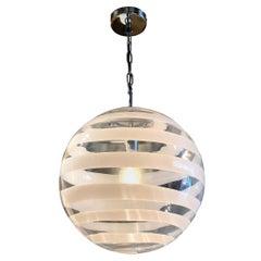 Murano Glass Globe Pendants with White Swirl Accent