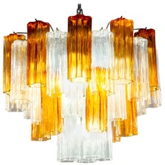 Murano Glass Gold and Ice Tronchi Chandelier, 2000s