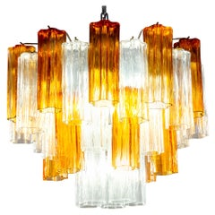 Murano Glass Gold and Ice Tronchi Chandelier, 1970s