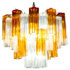 Murano Glass Gold and Ice Tronchi Chandelier by Venini, 1970s