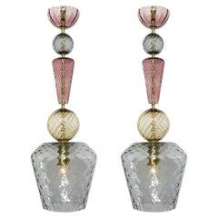 Murano Glass Gray and Amethyst Pendants