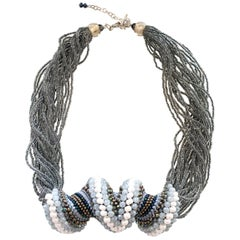 Murano glass gray/ white beads hand made fashion necklace by artist Paola B.