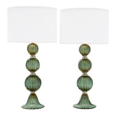 Murano Glass Green Avventurina Lamps