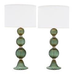 Murano Glass Green Avventurina Lamps