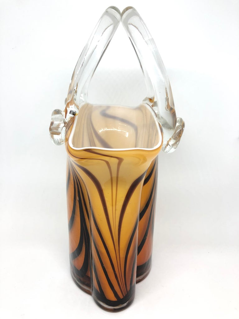 Italian Murano Glass Handbag Vase Sommerso Vintage, Italy, 1960s For Sale
