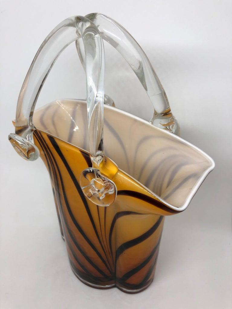 Murano Glass Handbag Vase Sommerso Vintage, Italy, 1960s For Sale 1